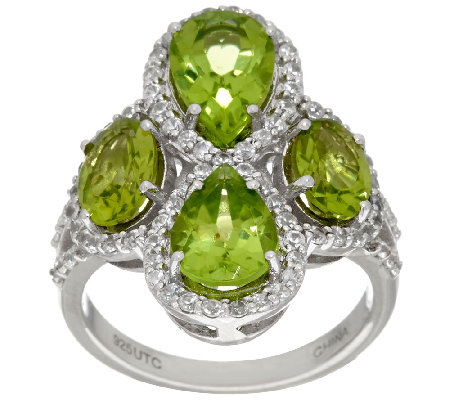 Graziela Gems Peridot & White Zircon Sterling Ring 3.90 cttw