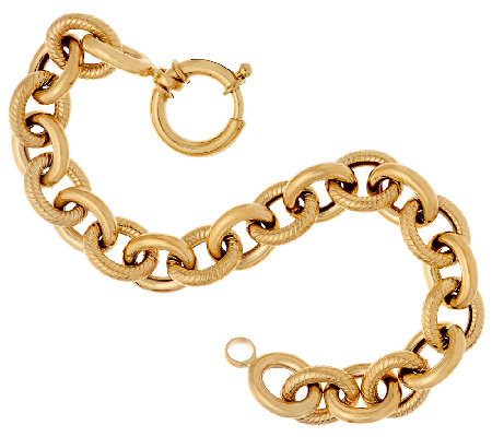 "14K Gold 6-3/4"" Textured & Polished Rolo Link Bracelet, 9.2g"