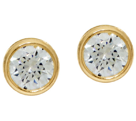 Diamonique 3.00cttw Bezel Set Stud Earrings, 14K Gold