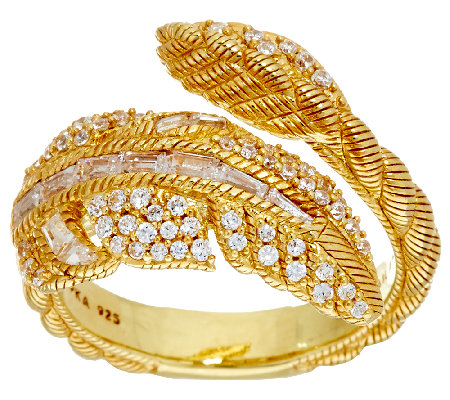 Judith Ripka 14K Clad 1.15 cttw Diamonique Feather Ring