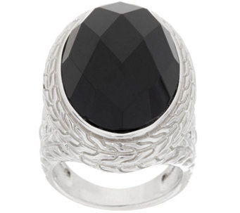 """As Is"" Fado Sterling Silver Forget-Me-Not Black Onyx Ring - J325764"