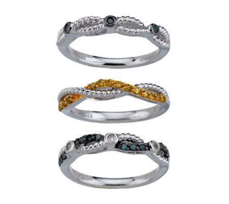 """As Is"" Set of 3 Stack Diamond Rings, Sterling 1/3 cttw, by Affinity"