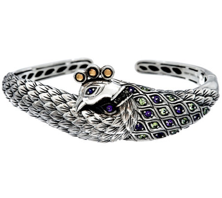 JAI Sterling & 14K Multi-Gemstone Peacock Cuff Bracelet