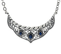 Carolyn Pollack Sterling Silver Labradorite Rope & Scroll Necklace - J329364