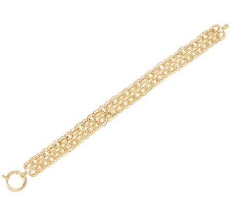 "14K Gold 7-1/4"" Polished and Textured Woven Bracelet, 7.0g"