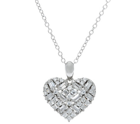 Diamonique Mixed Cut Heart Pendant with Chain, Sterling