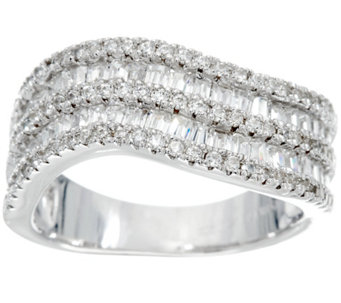 Diamonique Baguette Wave Design Ring, Sterling - J329864