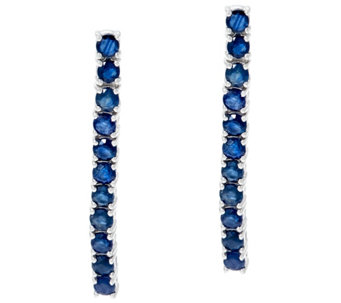 "Precious Gemstone 1-1/2"" Sterling Silver Drop Earrings 2.00 cttw - J329964"