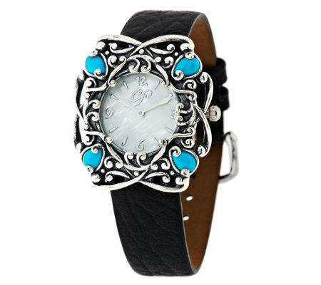 """As Is"" Carolyn Pollack Sleeping Beauty Turquoise Sterling Watch"