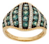 Alexandrite & Diamond Wide Domed Band Ring, 14K Gold, 1.20 cttw