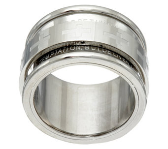 """As Is"" Stainless Steel Our Father Prayer Spinner Ring - J331164"