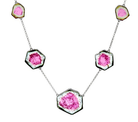 Watermelon Tourmaline Slice Sterling Station Necklace