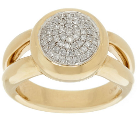 """As Is"" 14K Gold 1/4 cttw Round Pave' Diamond Ring"