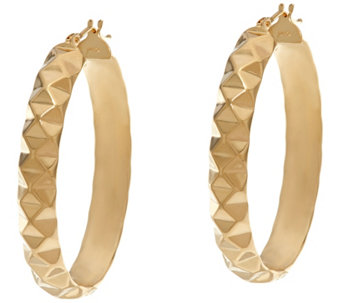 "Dieci 1-1/2"" Pyramid Design Oval Hoop Earrings 10K Gold - J332264"