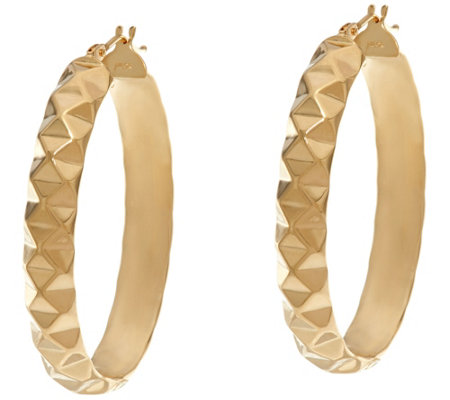 "Dieci 1-1/2"" Pyramid Design Oval Hoop Earrings 10K Gold"