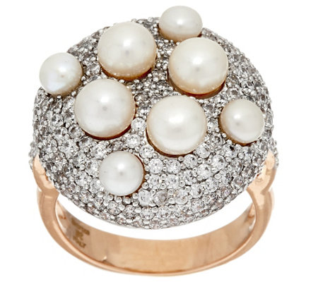 """As Is"" Honora Cultured Pearl Pave' Crystal Bronze Ring"