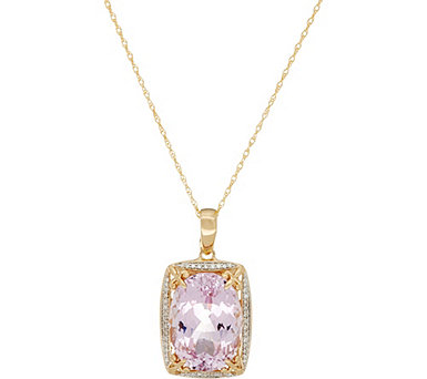 "Oval Kunzite & Diamond Enhancer on 18"" Chain, 14K 13.50 ct - J334364"