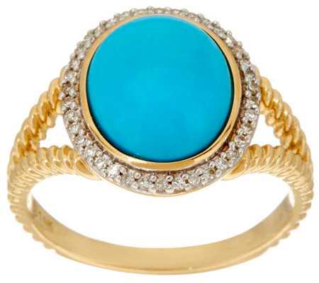 Sleeping Beauty Turquoise & Diamond Rope Design Ring 14K Gold