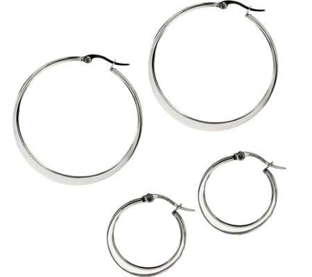Stainless Steel Set of 2 Flat Edge Hoop Earrings