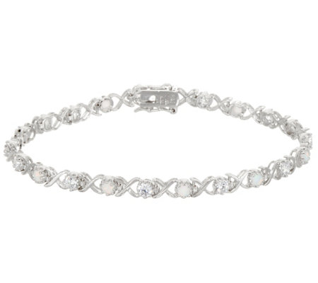 Diamonique and Simulated Opal Tennis Bracelet, Sterling
