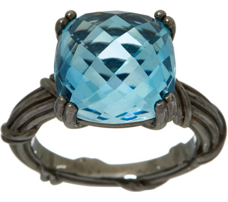 Peter Thomas Roth Sterling Fantasies Noir 8.40 ct Blue Topaz Ring