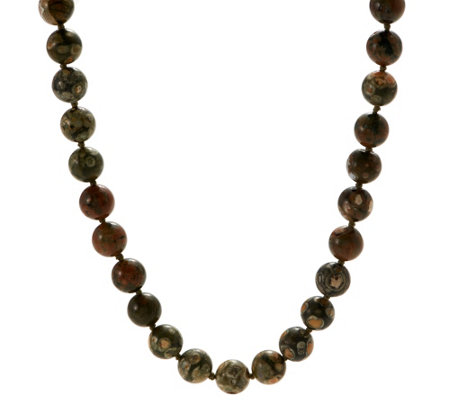 20 inch 12.0mm Opaque Gemstone Bead Necklace, Gold-plated Sterling