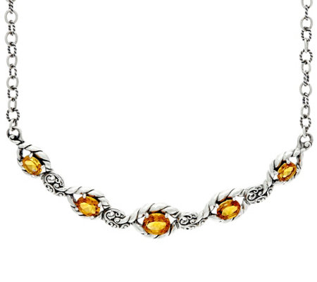 """As Is"" Carolyn Pollack Sterl. Silver 7.50 ct tw Citrine Adj. Necklace"