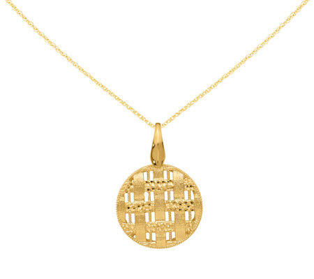 "14K Gold Round Woven Pendant w/18"" Chain"