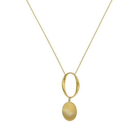 14K Oval Link & Dangle Necklace, 4.8g