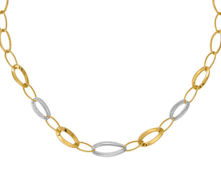 14K Two-tone Polished and Textured Necklace, 5.4g
