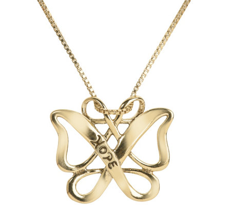 "Loving Family Sterling & 14K ""Hope"" Butterfly Necklace"