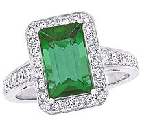 14K Gold 3.30 cttw Green Tourmaline & 1/2 cttwDiamond Ring - J383664