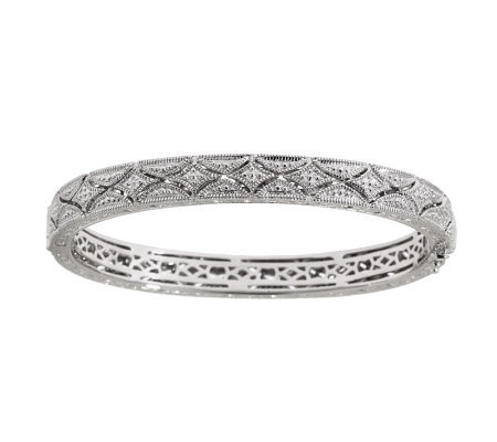 AffinityDiamond 1/3 ct tw Vintage Style Sterling Bangle Bracelet