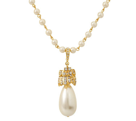 KJL Bold Simulated Pearl Enhancer with Chain