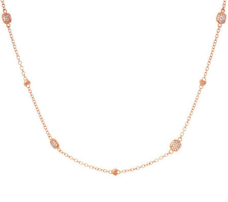 "Judith Ripka La Petite 18"" Sterling or Rose Gold Station Chain"