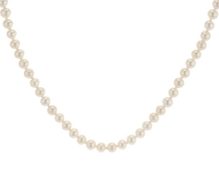"Honora Cultured Pearl 5.0mm Round 18"" Sterling Necklace"