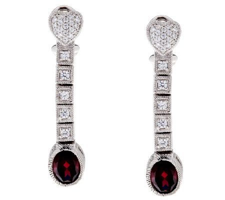 Judith Ripka 2.30cttw Rhodolite and Diamonique Drop Earrings