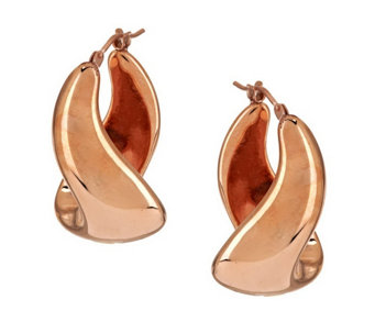 """As Is"" Oro Nuovo Polished Twist Design Hoop Earrings, 14K Gold - J290665"