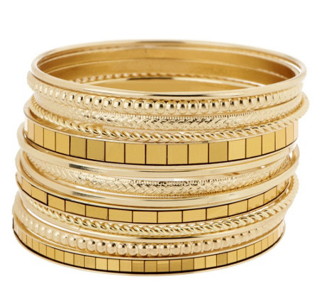 Set of 13 Textured and Mirrored Bangles