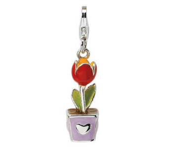 Amore La Vita Sterling Dimensional Red TulipFlower Charm - J299965