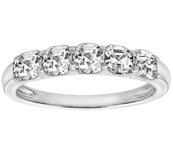 Diamonique Asscher Cut 3.15 cttw 5 Stone Ring, Platinum Clad - J303565