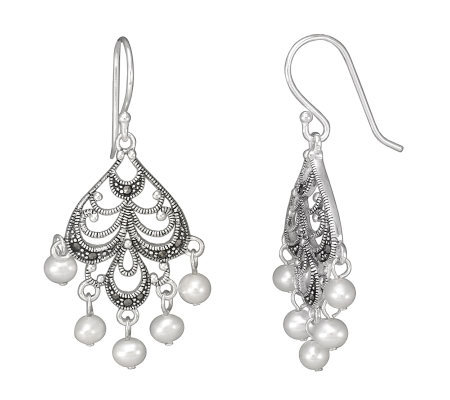Suspicion Sterling Marcasite Cultured Pearl Earrings