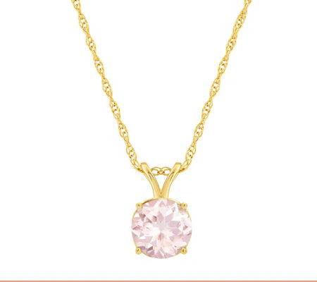"1.00 ct Round Morganite Pendant with 18"" Chain,14K Gold"