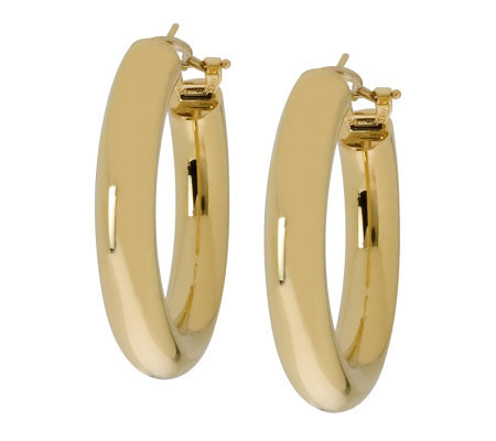 "Arte d'Oro 1-3/8 "" Hoop Earrings with Omega Bac ks, 18K Gold"