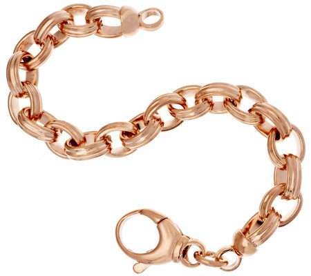 Bronze Polished Ribbed Oval Rolo Link Bracelet by Bronzo Italia