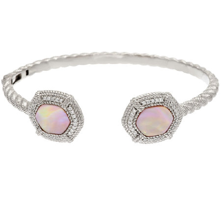 Judith Ripka Sterling Pink Mother-of-Pearl & Diamonique Cuff Bracelet
