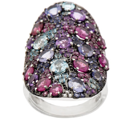 Graziela Gems Multi-Gemstone Elongated Sterling Ring, 5.00 ct tw