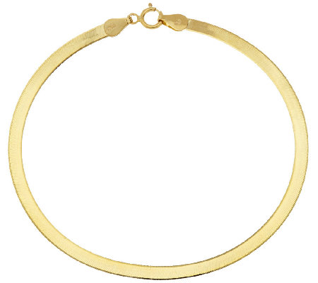 "Vicenza Gold 6-3/4"" Solid Polished Herringbone Bracelet, 1.3g"