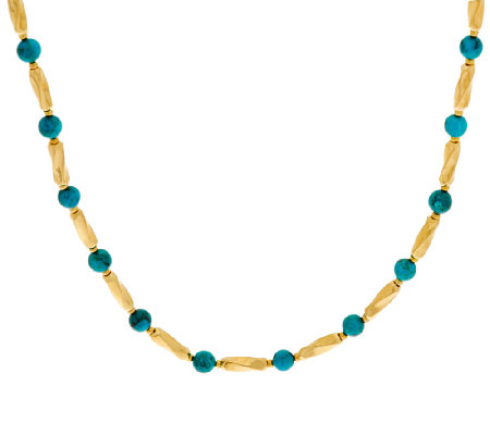 "Bronze 16"" Turquoise Bead Station Necklace by Bronzo Italia"