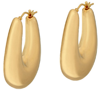 "Oro Nuovo 1-1/4"" Graduated Oval Hoop Earrings, 14K - J324665"